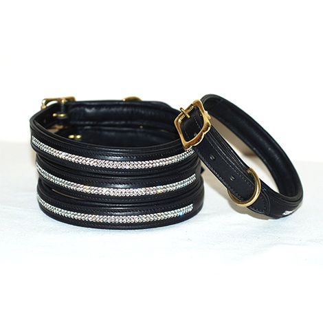 Diamonds Leather Dog Collar - Black