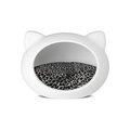 White Cat Cave with Animal Print Cushion 2