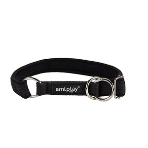 Ami Play Cotton Half Check Collar - Black