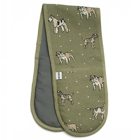 Dogs Linen Oven Gloves - Green