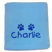My Posh Paws - Personalised Fleece Puppy Blanket - Pale Blue