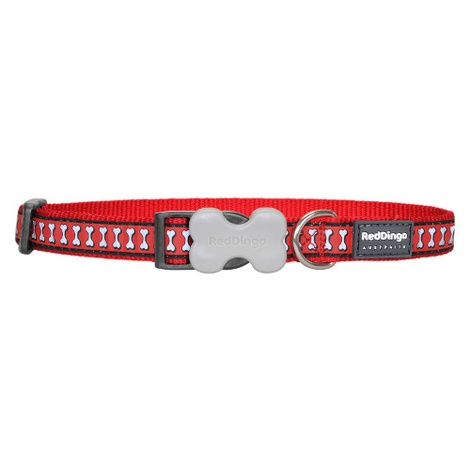 Bones Reflective Dog Collar - Red