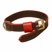Baker & Bray - Pimlico Leather Dog Collar – Chocolate & Red