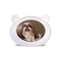 Small White Dog Cave with Animal Print Cushion