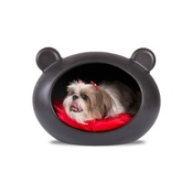 GuisaPet - Small Black Dog Cave with Red Cushion