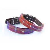 Mann and Moon - Harris Tweed Orange & Purple Check Collar