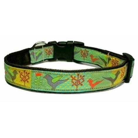 Patchwork Birds Dog Collar
