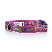 "Pet Pooch Boutique - Pow! Cartoon Collar - Pink  1"" Width"