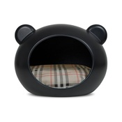 GuisaPet - Medium Black Dog Cave with Tartan Cushion