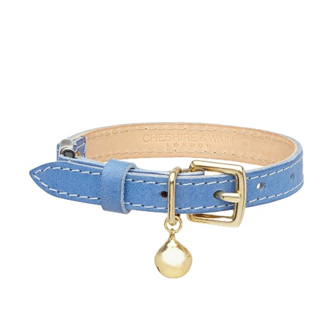 Leather Blue Cat Collar
