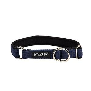 Ami Play Cotton Half Check Collar - Navy