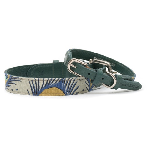 Peacock Linen and Leather Dog Collar 4