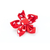 Pet Pooch Boutique - Red Polka Dot Flower Collar Accessory