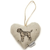 Mutts & Hounds - Dogs Linen Lavender Heart Natural- Border Terrier