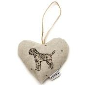 Mutts & Hounds - Dogs Linen Lavender Heart Natural- Border Terrier