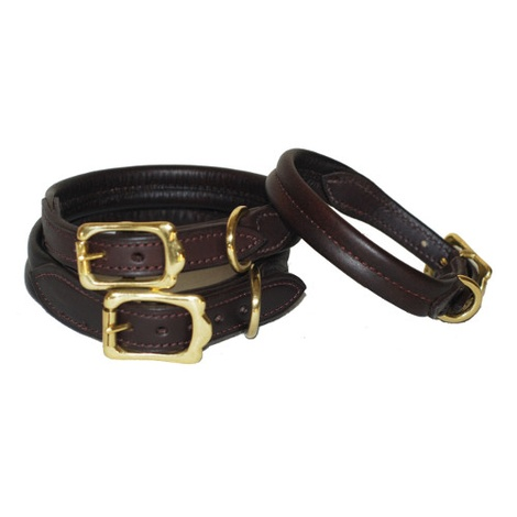 Strong & Soft Padded Leather Dog Collar - Chocolate Br