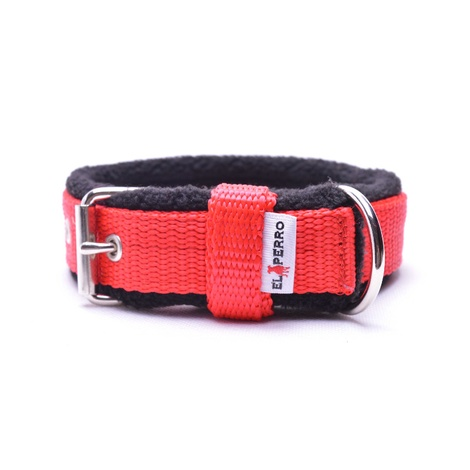 2.5cm width Fleece Comfort Dog Collar – Red