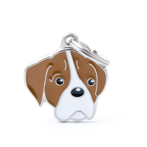 Boxer Engraved ID Tag – Brown & White