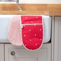 Cranberry Star Cotton with Red Ticking Stripe Oven Glo 3