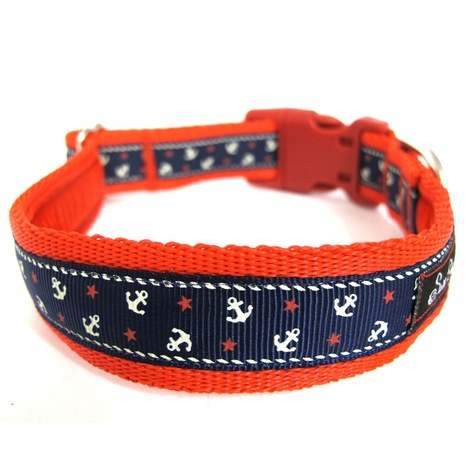 Little Sailors Navy on Red Dog Collar 2