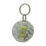 The Pet Jeweller - Alphabet Dog ID Tag - Textured brass on textured silve