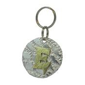 The Pet Jeweller - Alphabet Dog ID Tag - Textured brass on textured silve