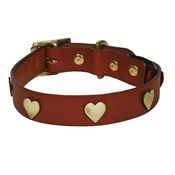 Creature Clothes - Brass Hearts Studs Leather Collar - Tan