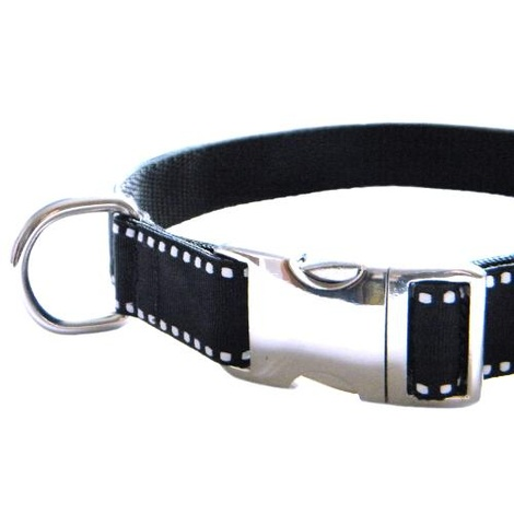 Dog Collar - White Saddle Stitch on Black 3