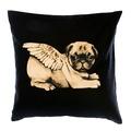 Biddy Pug Cushion Cover - Black with White Pug