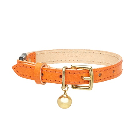 Leather Orange Cat Collar