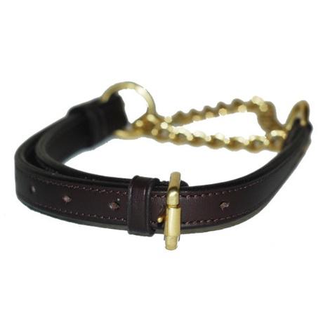 Adjustable Half Choke Chain Leather Dog Collar - Choco