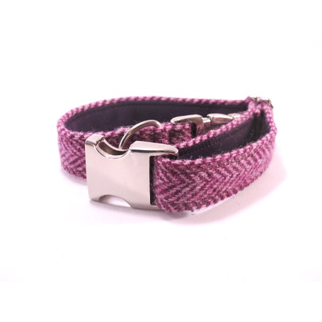 Lilac Herringbone Harris Tweed Dog Collar 3