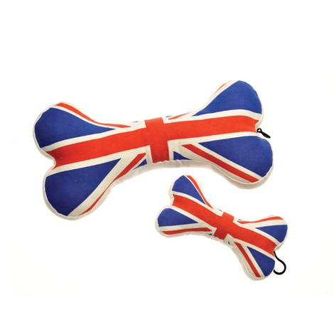 Union Jack Bone Squeaky Dog Toy 2