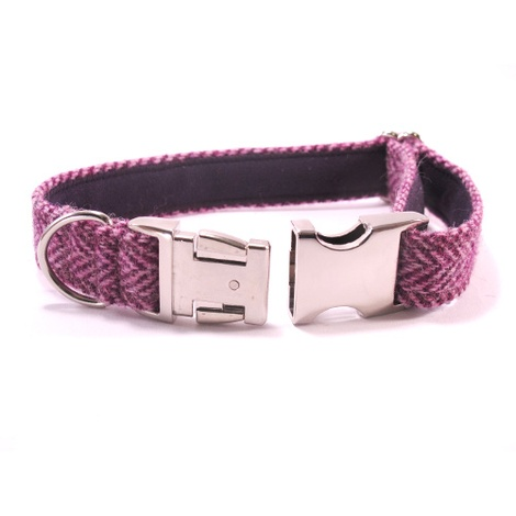Lilac Herringbone Harris Tweed Dog Collar 2