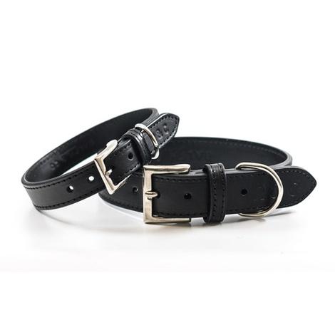 Leather dog collar (Sorrento) - Charcoal