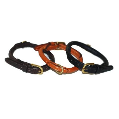Handmade Rolled Leather Dog Collar - London Tan