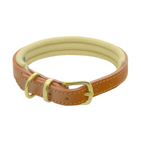 Tan & Cream Colours Leather Collar