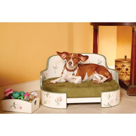 White & Green English Country House Dog Sofa 3