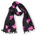 Biddy Pug Scarf - Black with Neon Pink Pugs 2