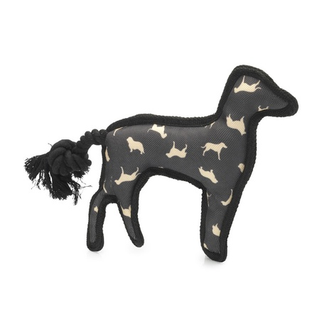 Silhouette Print Squeaky Dog Toy with Rope Tail