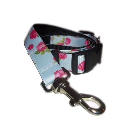 Vintage English Rose Dog Collar & Lead Set