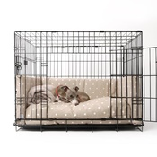 Charley Chau - Dog Crate Mattress & Bed Bumper Set - Dotty Taupe