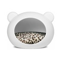 Medium White Dog Cave with Animal Print Cushion
