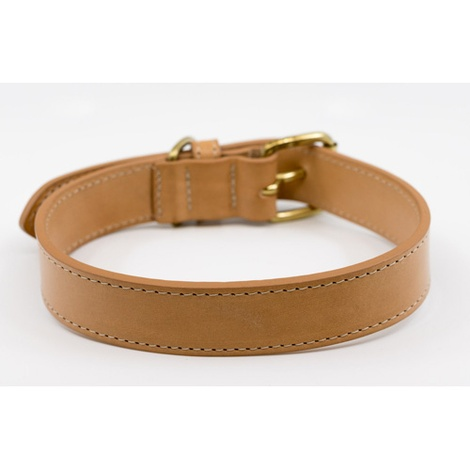 Leather Dog Collar (Trieste) - Light Tan 4