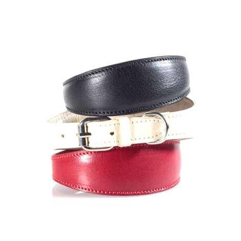 Fashion Leather Padded Dog Collar for Whippets Black