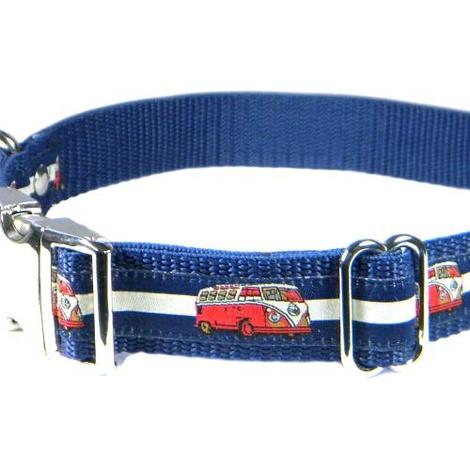 Red VW Camper Van Dog Collar – Navy & White Stripes 4