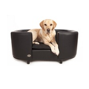 Sky Pet Products - Hampton Leather Pet Bed - Moonlight Black