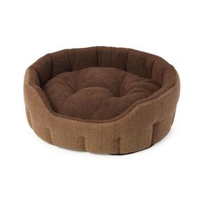 Brown Tweed & Sheepskin Oval Snuggle Dog Bed
