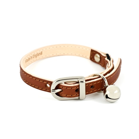 Tan Leather Cat Collar