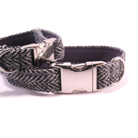 Grey Herringbone Harris Tweed Collar 2